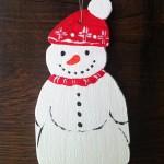 Schneemann mit Mütze, gross, Sperrholz bemalt