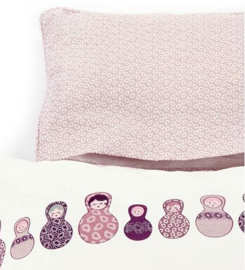 puppen bettw sche smallstuff weiss mit lila babuschka art fun. Black Bedroom Furniture Sets. Home Design Ideas